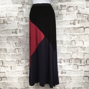 Bobeau Maxi Skirt Knit Color Block SZ XS
